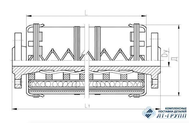 Соединение рукавное фланцевое с огнезащитной изоляцией Ду 40…65